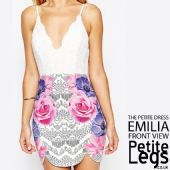 Emilia Petite Height Mini Dress with Floral and Crochet details | UK Size 4-6